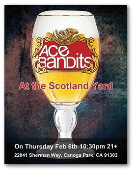 Ace Bandits promo flyer for concert at the Scotland Yard
