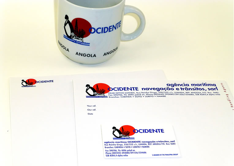 ocidente branding of mug and stationary